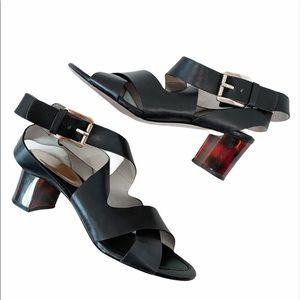 Michael Kors Black Strappy Tortoise Heel Sandals